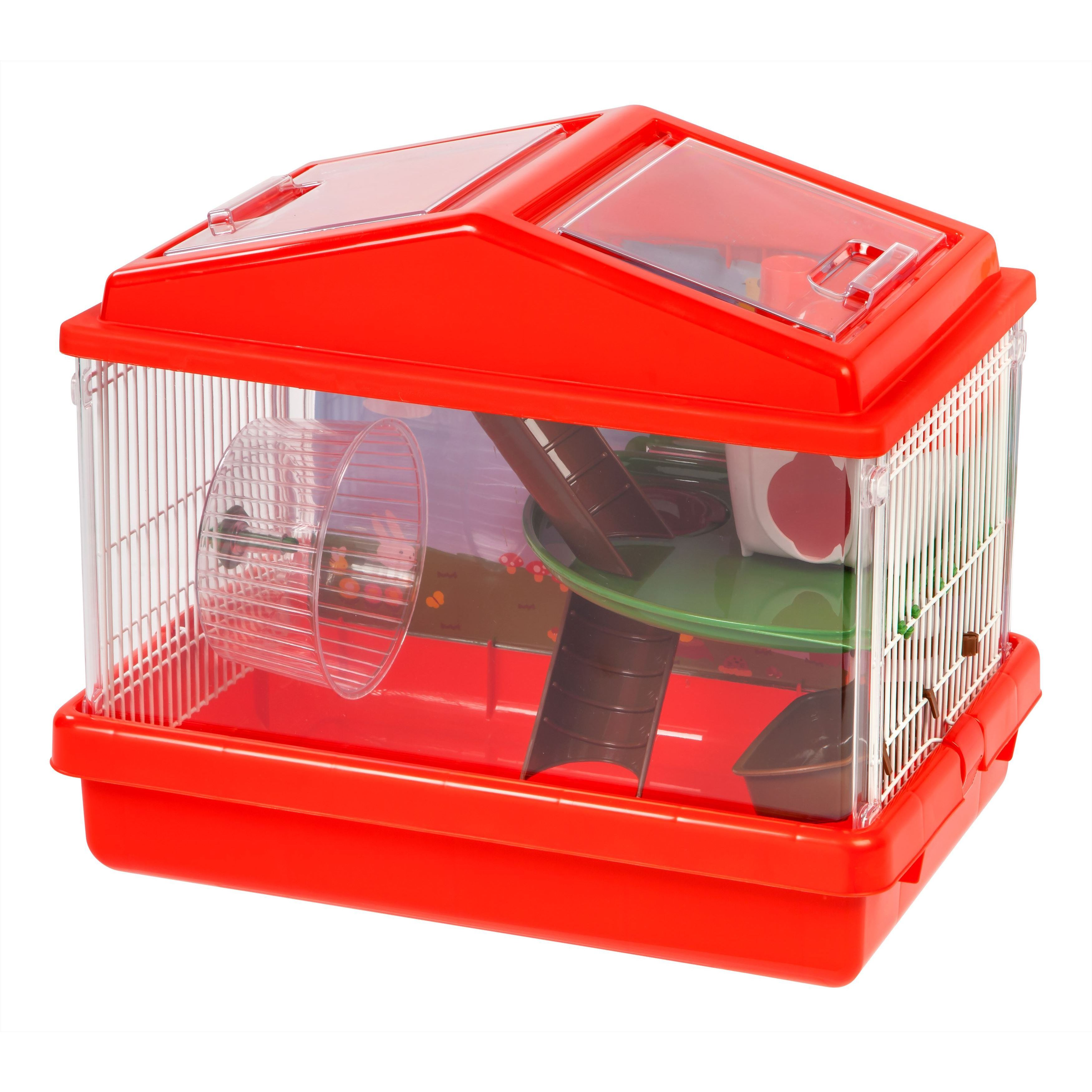 IRIS USA Plastic and Wire 2-tier Hamster Cage (Red)