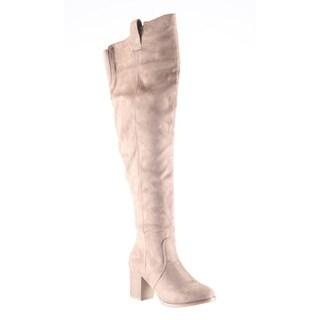 Hadari Women's Fashion Thigh High Over Knee Faux Suede Dress Boot Shoes