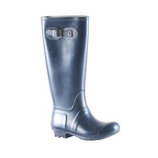 Hadari Women's Casual Flat Heel Navy Knee High Boots