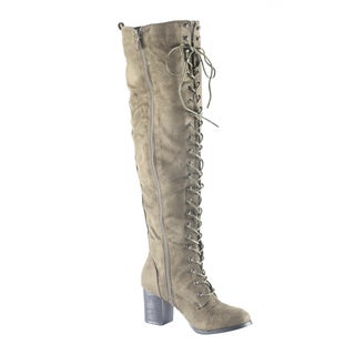 Hadari Women's Over the Knee Faux Suede Thigh High Lace Up Boot Shoes