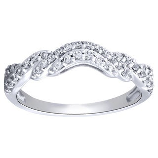 14k White Gold Contour Diamond Ring 1/3ct TDW