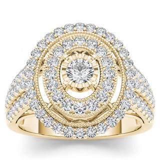 De Couer 14k Yellow Gold 1ct TDW Diamond Cluster Double Halo Engagement Ring (H-I, I2)