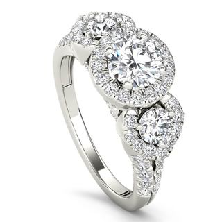 De Couer 14k White Gold 1 5/8ct TDW Diamond Three-Stone Anniversary Ring