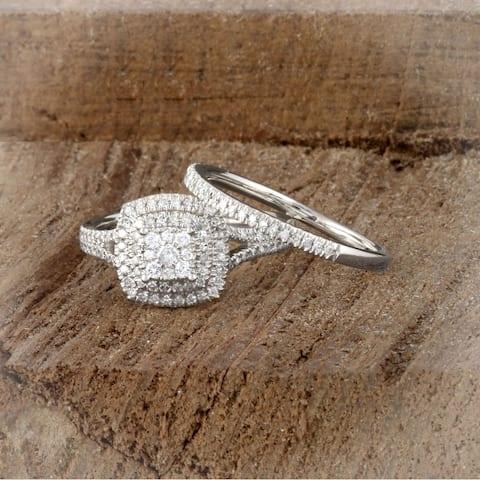De Couer IGI Certified 14k White Gold 1/2ct TDW Diamond Cluster Halo Bridal Set