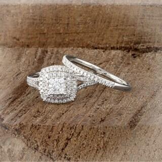 De Couer 14K White Gold 1/2ct TDW Diamond Cluster Halo Ring - White H-I