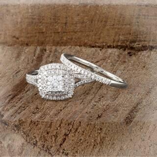 De Couer IGI Certified 14K White Gold 1/2ct TDW Diamond Cluster Halo Ring - White H-I