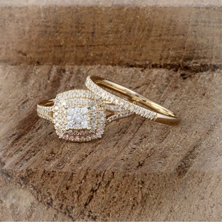 De Couer 14K Yellow Gold 1/2ct TDW Diamond Cluster Halo Ring (H-I, I2)