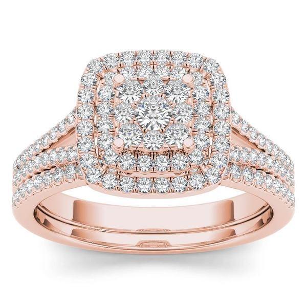 De Couer 14K Rose Gold 1/2ct TDW Diamond Cluster Halo Ring - Pink