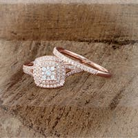 De Couer 14K Rose Gold 1/2ct TDW Diamond Cluster Halo Ring - Pink