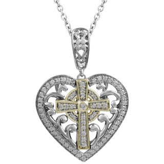14k Yellow Gold and Sterling Silver 1/4ct TDW Diamond Mi Joya Divina Heart and Cross Pendant