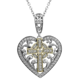 14k Yellow Gold and Sterling Silver 1/ 4ctTW Diamond Mi Joya Divina Heart and Cross Pendant