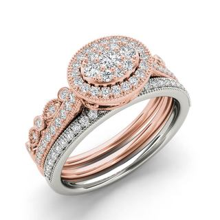 De Couer 10k White and Rose Gold 1/2 ct TDW Diamond Halo Engagement Ring Set (H-I, I2)