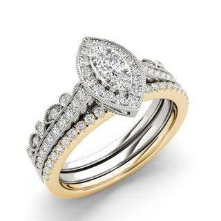 De Couer 10k White and Yellow Gold 1/2 ct TDW Diamond Halo Engagement Ring Set (H-I, I2)