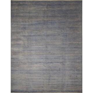 Noori Rug Fine Grass Kazam Grey/Teal Blue Rug - 12'0 x 14'11