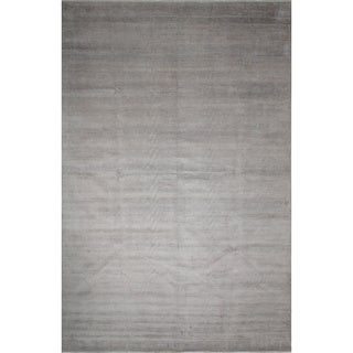 Grass Malik Silver/ Charcoal Wool/ Viscose Rug (12'1 x 17'11)