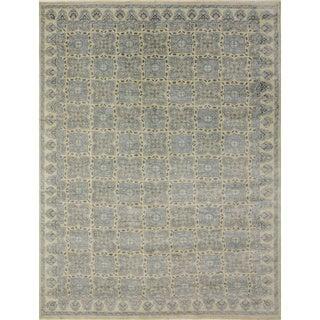 Blue and Ivory Wool Oushak Area Rug (8'11 x 12'1)