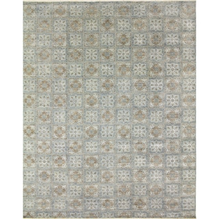 Light Blue Wool Fine Oushak Babu Rug (9'1 x 12'2)