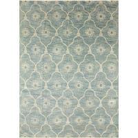 Fine Oushak Irfan Ivory and Sky Blue Wool Area Rug (8'10 x 12'1) - 8'10 x 12'1