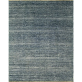 Fine Grass Panhyar Teal Blue Wool/Viscose Rug (9'1 x 12'0)