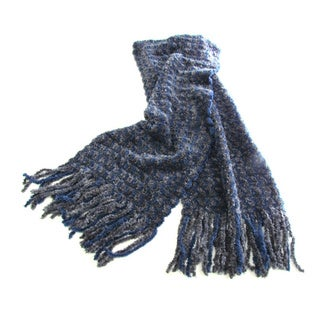Hypoallergenic Navy Charcoal Chenille Scarf