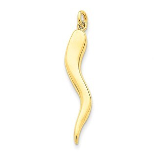 14k Yellow Gold Solid Polished 3D Italian Horn Charm