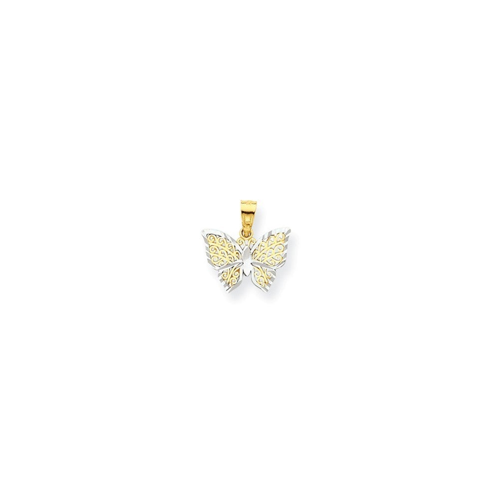 10k Yellow Gold Rhodium Butterfly Charm (Two-Tone), Women's
