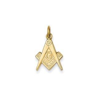 14k Yellow Gold Polished Masonic Charm