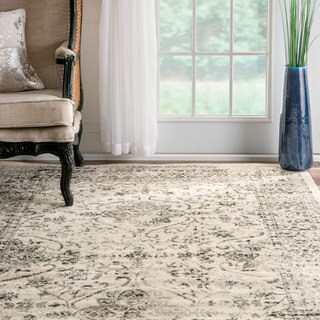 nuLOOM Traditional Distressed Persian Vintage Grey Rug (8'2 x 11'6)