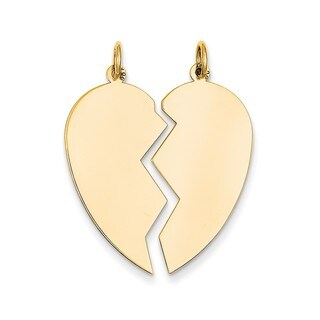 14k Yellow Gold 2-piece Heart Charm