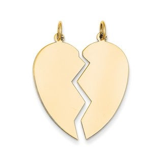 14k Yellow Gold 2-piece Heart Charm