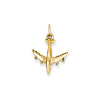 14k Yellow Gold 3-D Airplane Charm