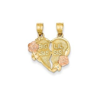 14k Two-tone Gold Break-apart Big Sis and Little Sis Heart Charm