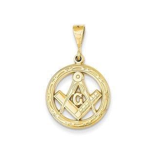 14k Gold Polished Flat-backed Small Masonic Charm