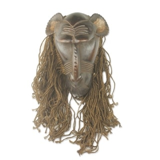 Baule Gbekre II African Wood and Jute Mask (West Africa)