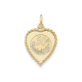 14k Yellow Gold Happy 50th Anniversary Charm