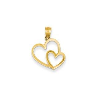 Women's 14k Yellow Gold Double Heart Charm
