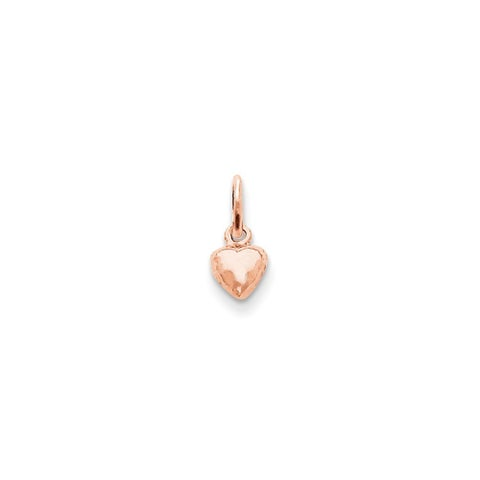 14k Rose Gold Solid Polished Small Heart Charm