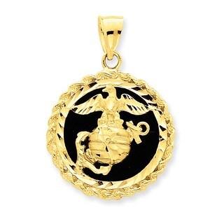 14k Yellow Gold Onyx Marine Charm