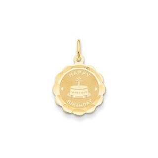14k Yellow Gold Polished-satin Engravable 'Happy Birthday' Charm