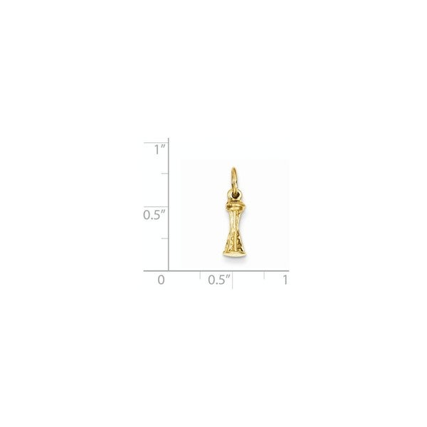 14k Yellow Gold Solid Polished 3-D Seattle Space Needle Charm