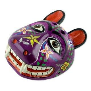 Purple Maya Jaguar Wood Mask (Central America)