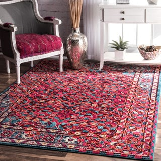 nuLOOM Traditional Persian Abstract Pink Rug (7'10 x 11')