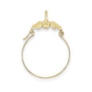 14k Yellow Gold Polished Floral Charm Holder