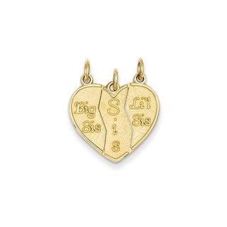 14K Yellow Gold 3-piece Big Sis/Lil Sis Break-apart Charm