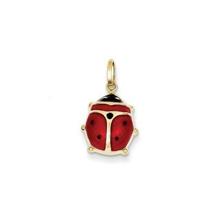 14k Yellow Gold Enameled Ladybug Charm