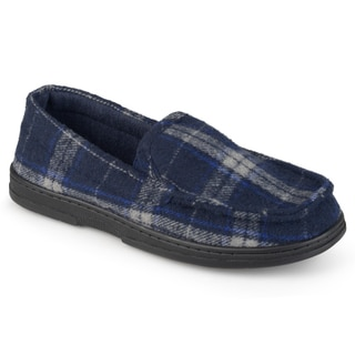 Perry Ellis Men's Moccassin Microsuede Plaid Slippers