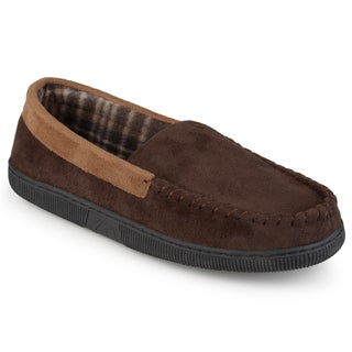 Perry Ellis Men's Moccassin Microsuede Slippers