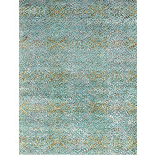 Hand Knotted Capri/Amber Green Contemporary Pattern Rug (12' X 15')