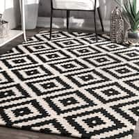 nuLOOM Handmade Abstract Wool Fancy Pixel Trellis Square Rug (6' Square) - 6' 6' square