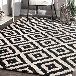 nuLOOM Handmade Abstract Wool Fancy Pixel Trellis Square Rug (6' Square)